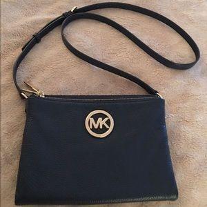 Michael kors Navy Leather Crossbody Bag